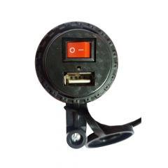 CARGADOR USB CON INTERRUPTOR (VOLANTE) NEGRO